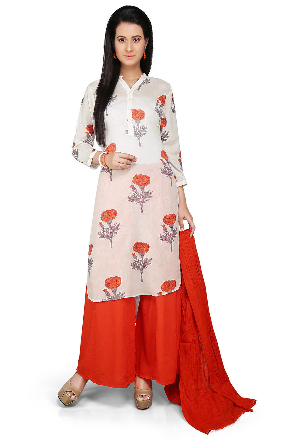 Printed Pakistani Cut Rayon Suit in White