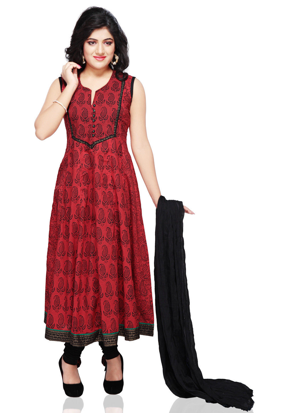 Printed Cotton Anarkali Suit in Red