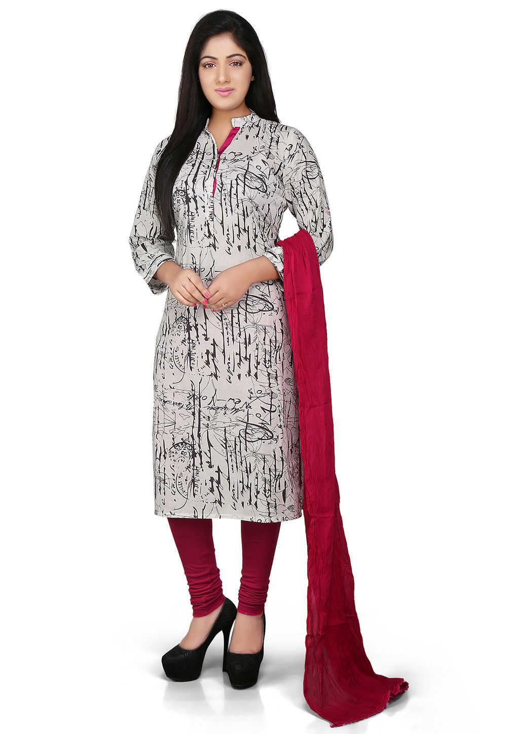 Printed Straight Cut Cotton Suit in White