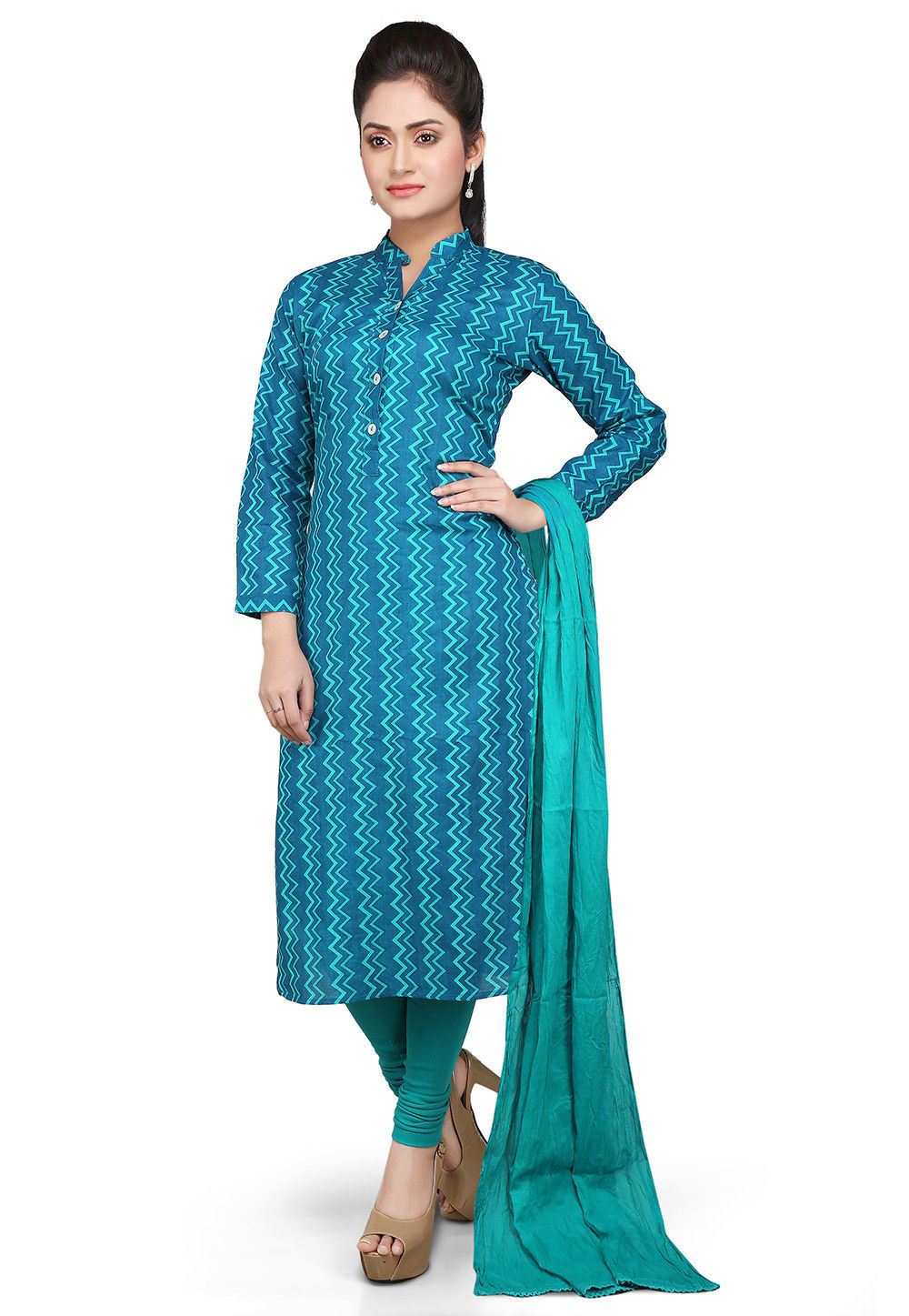 Printed Straight Cut Cotton Suit in Blue