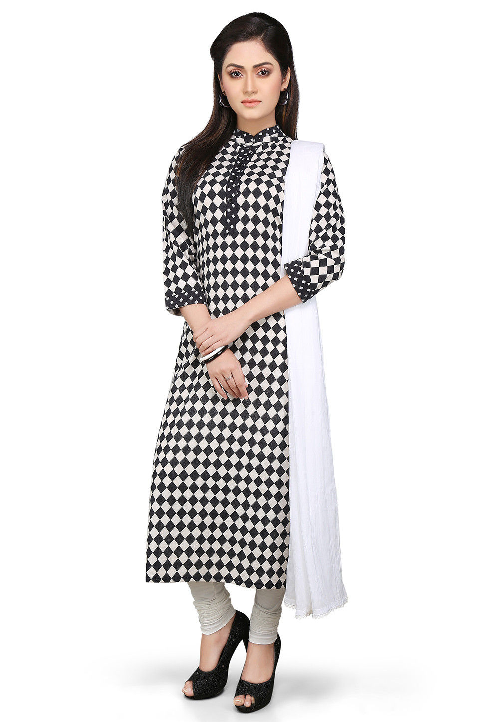 Printed Straight Cut Cotton Suit in Black and White