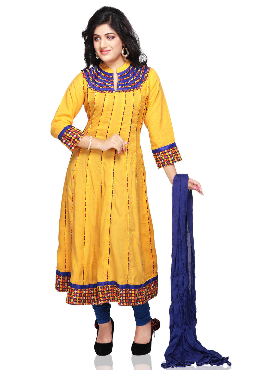 Printed Anarkali Suit in Mustard