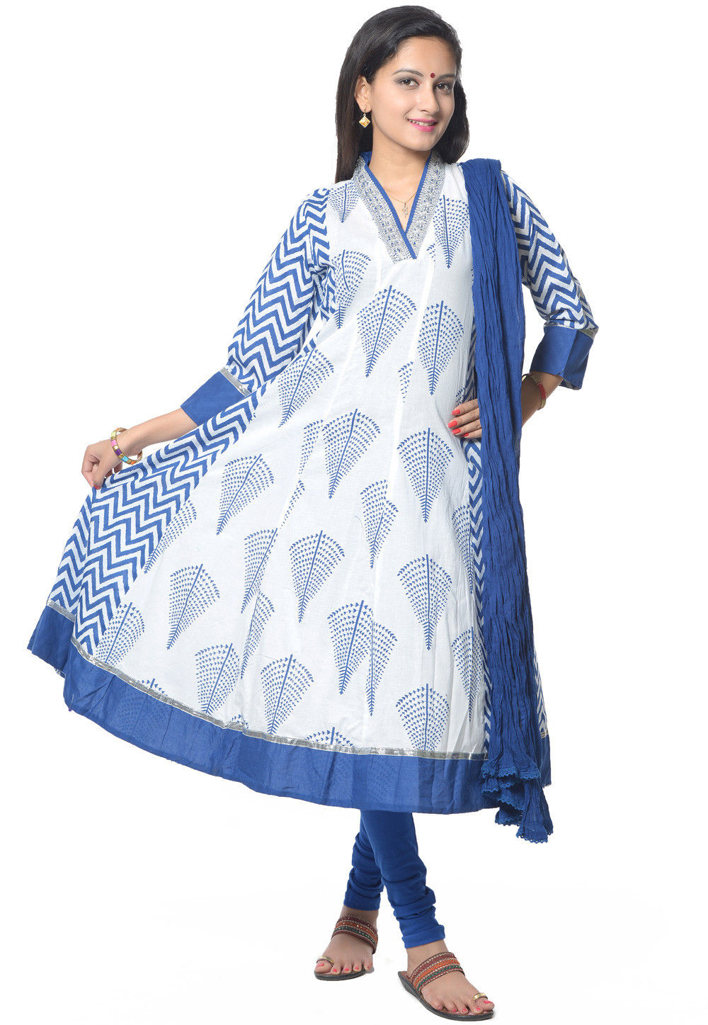 Printed Anarkali Suit in White