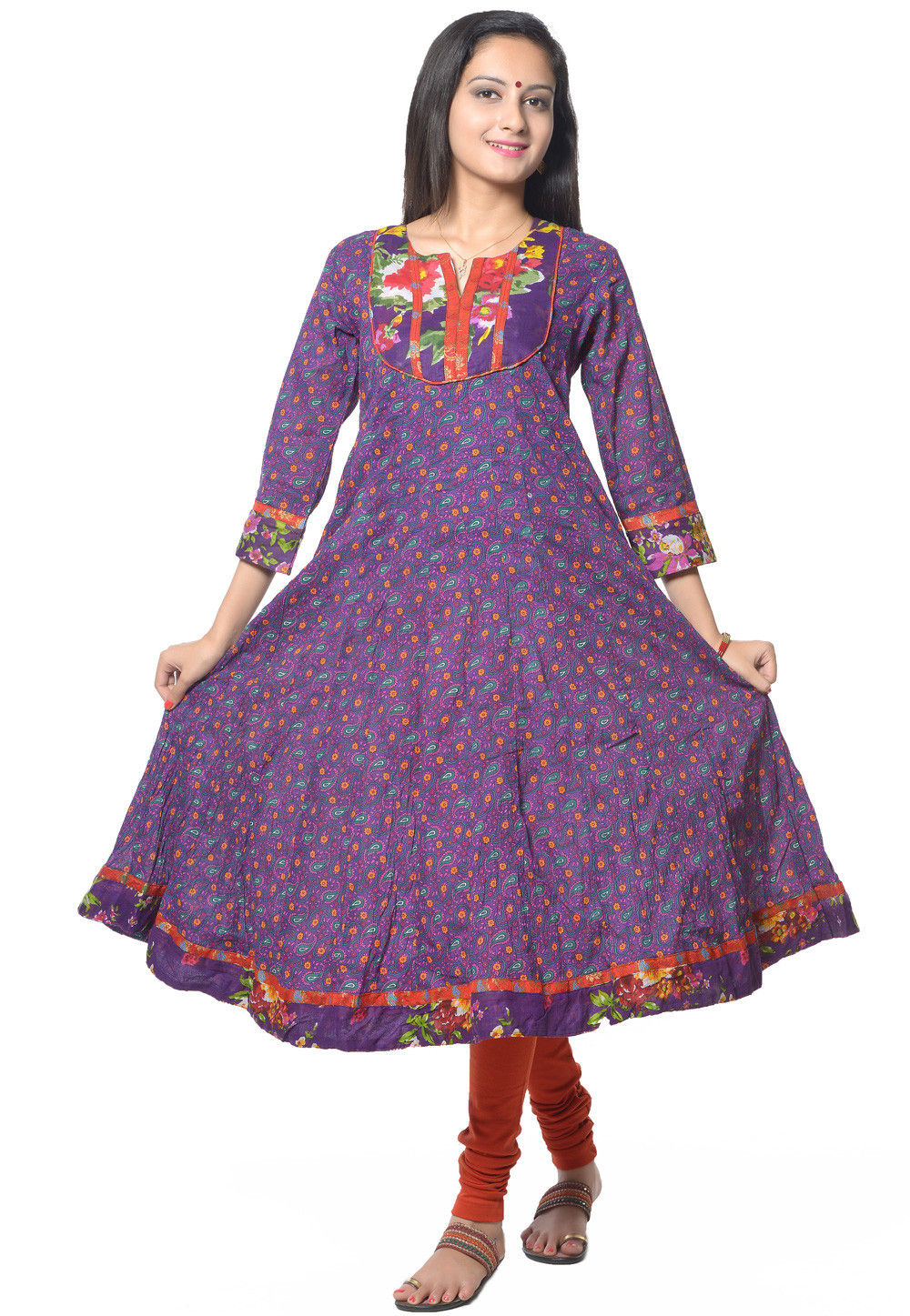 Printed Anarkali Suit in Multicolor