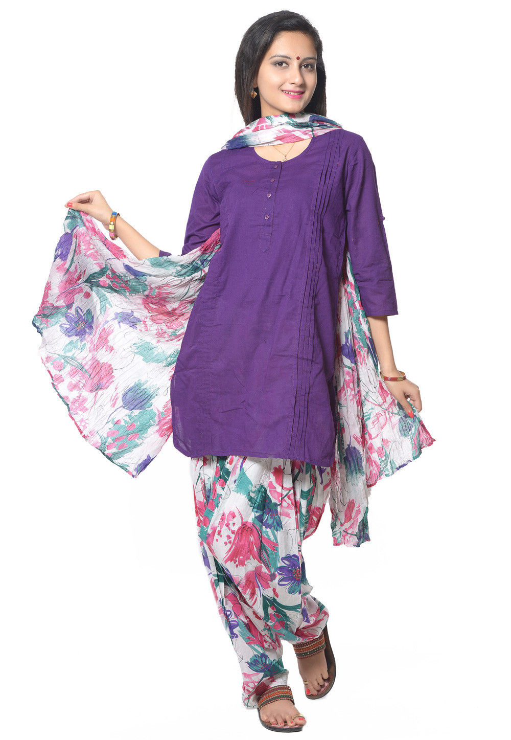 Straight Cut Cotton Suit in Purple