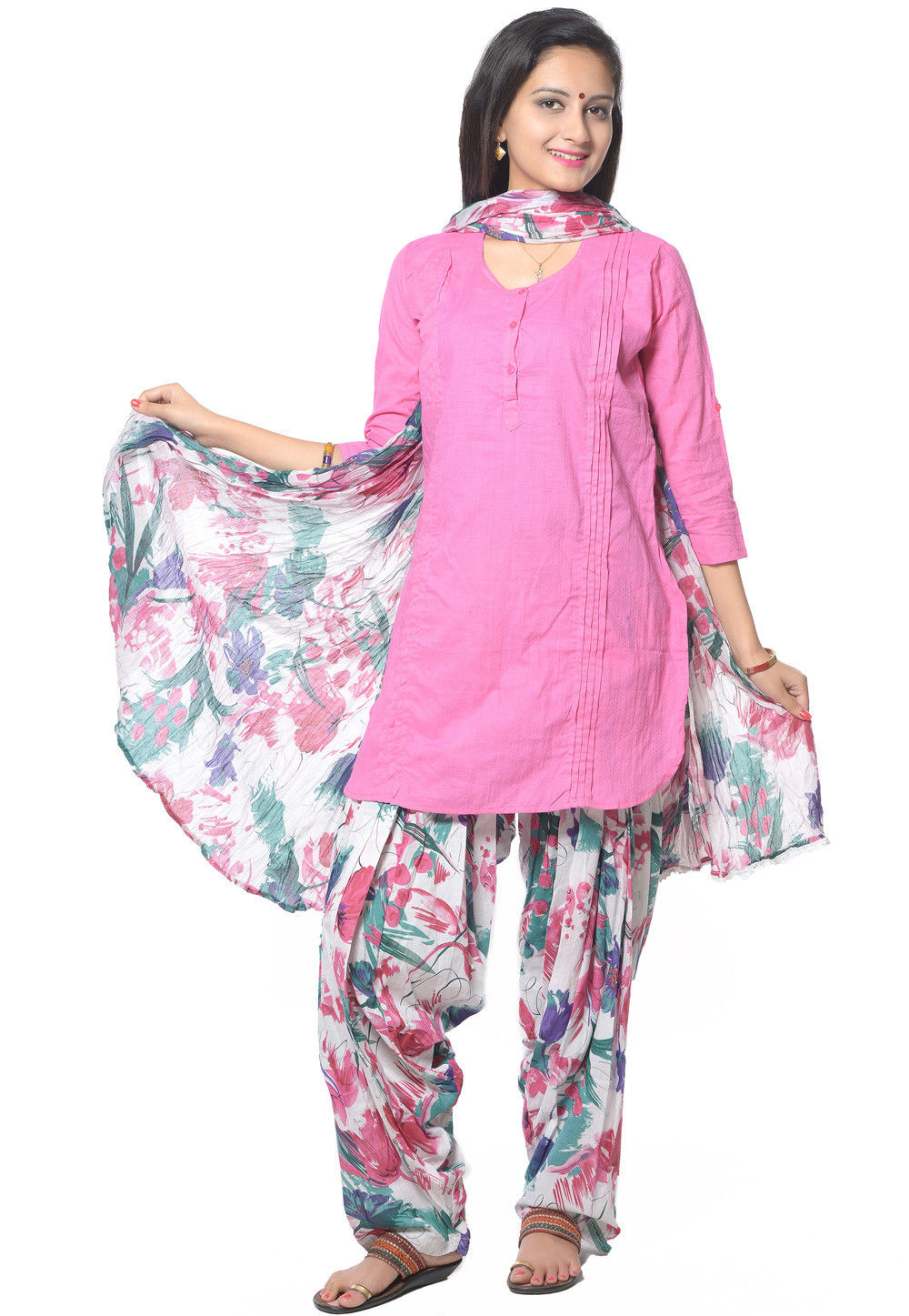 Straight Cut Cotton Suit in Pink