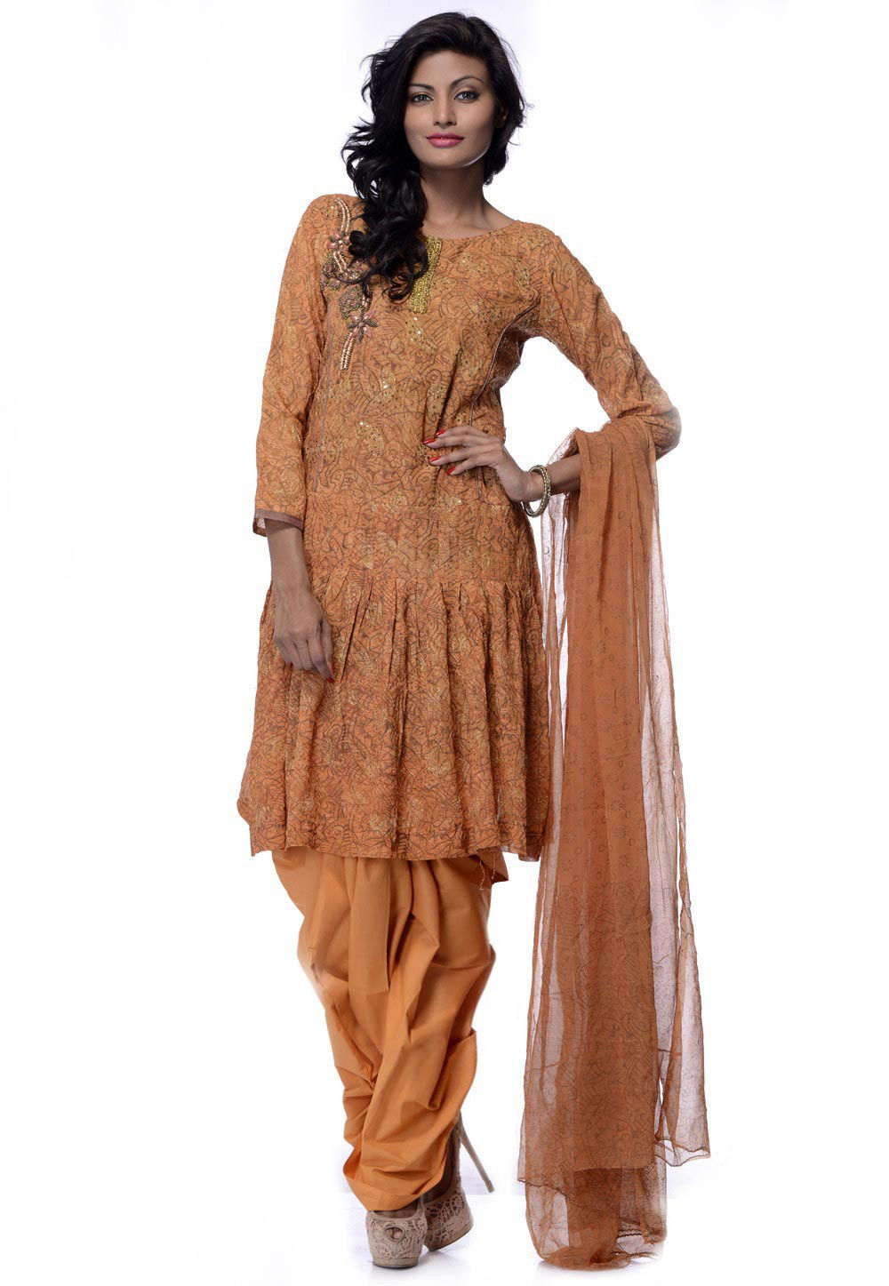 Embroidered Georgette A Line Suit in LIght Brown