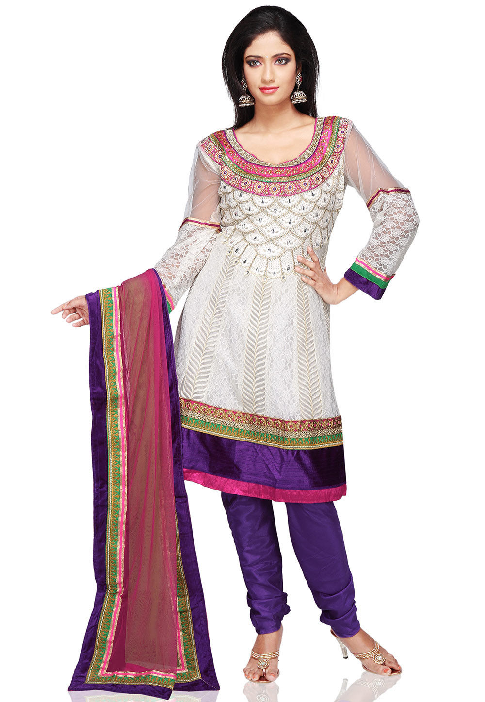 Embroidered Anarkali Net Suit In White