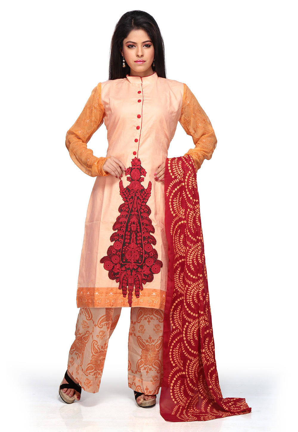 Embroidered Straight Cut Cotton suit In Peach