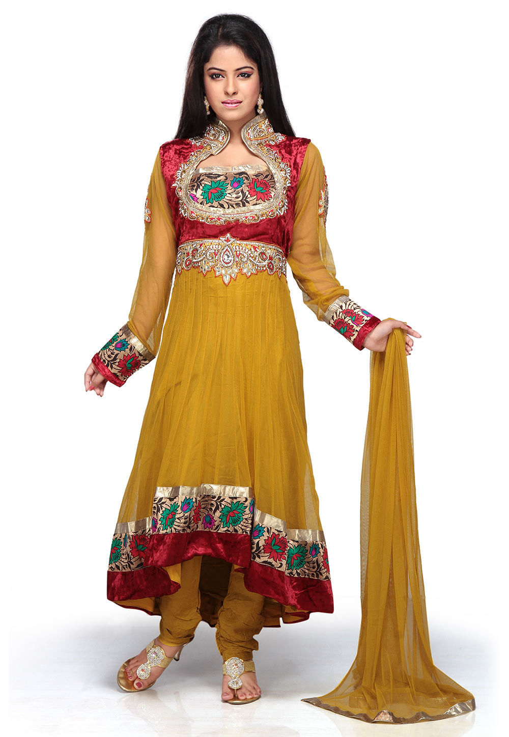 Embroidered Anarkali Asymmetric Net Suit In Mustard And Red