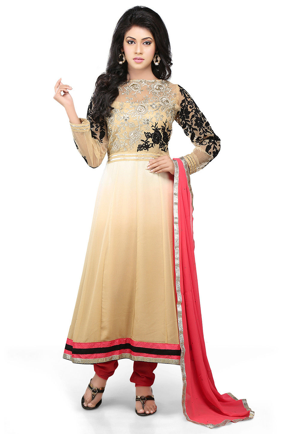 Embroidered Anarkali Suit In Beige Ombre