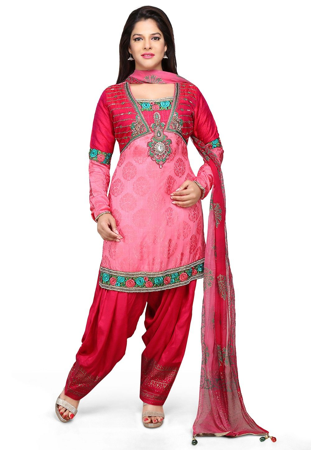 Embroidered Silk Jacquard Straight Cut Suit in Pink