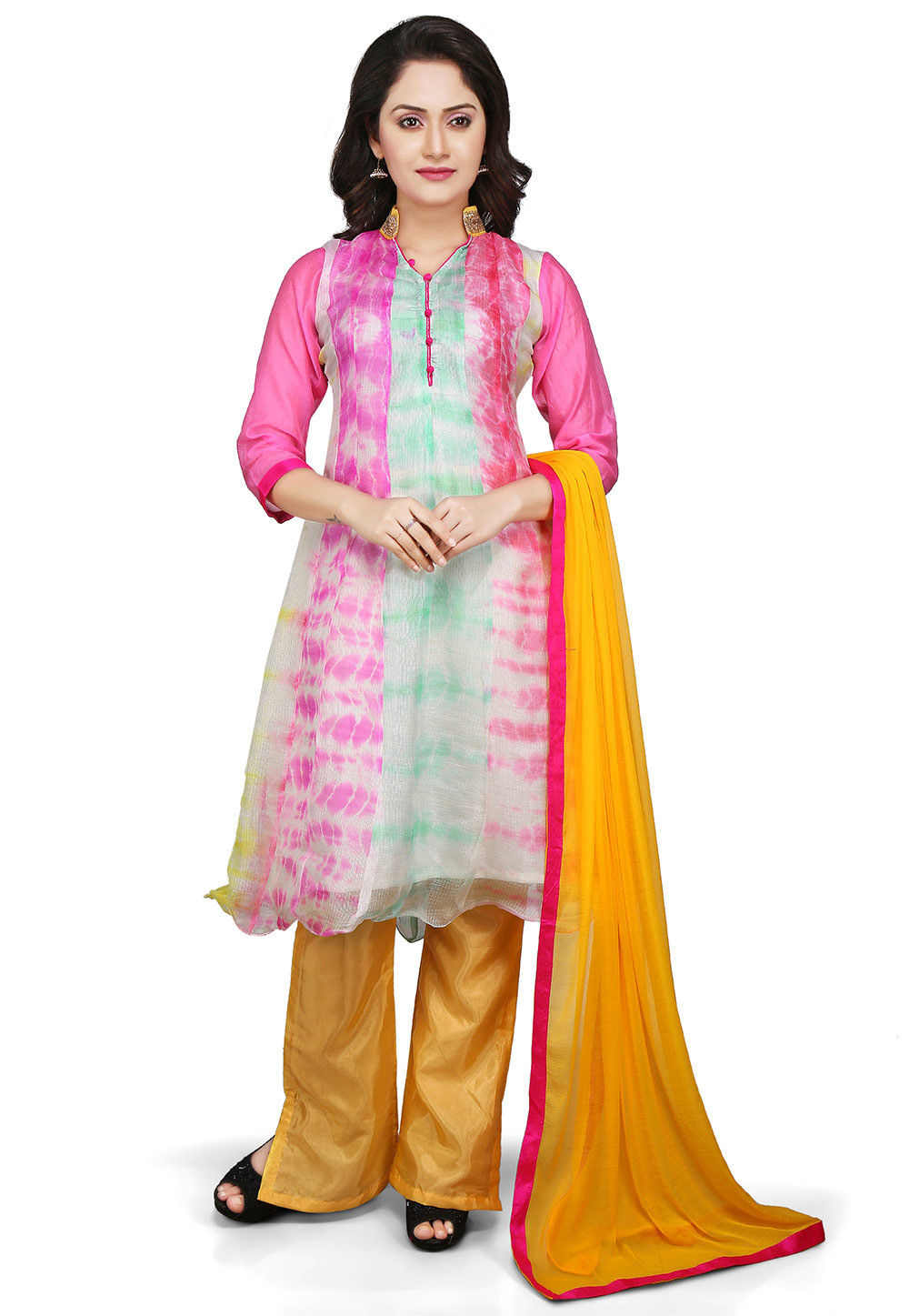 Printed Pure Kota Silk A Line Suit in Multicolor