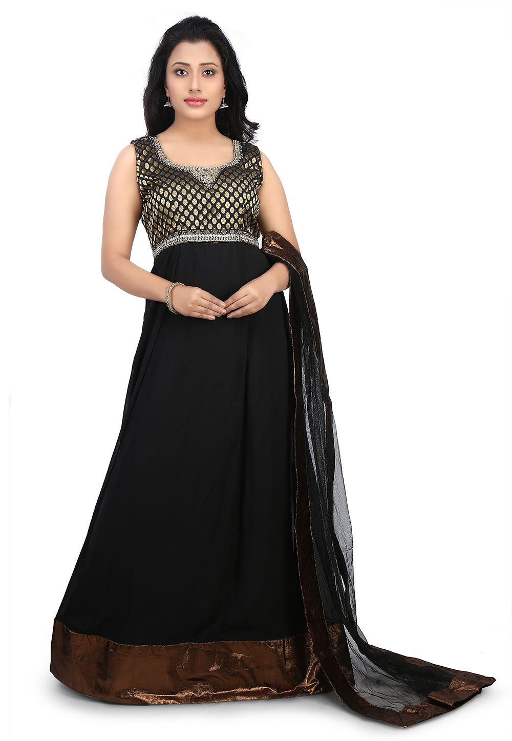 Embroidered Neckline Viscose Abaya Style Suit in Black