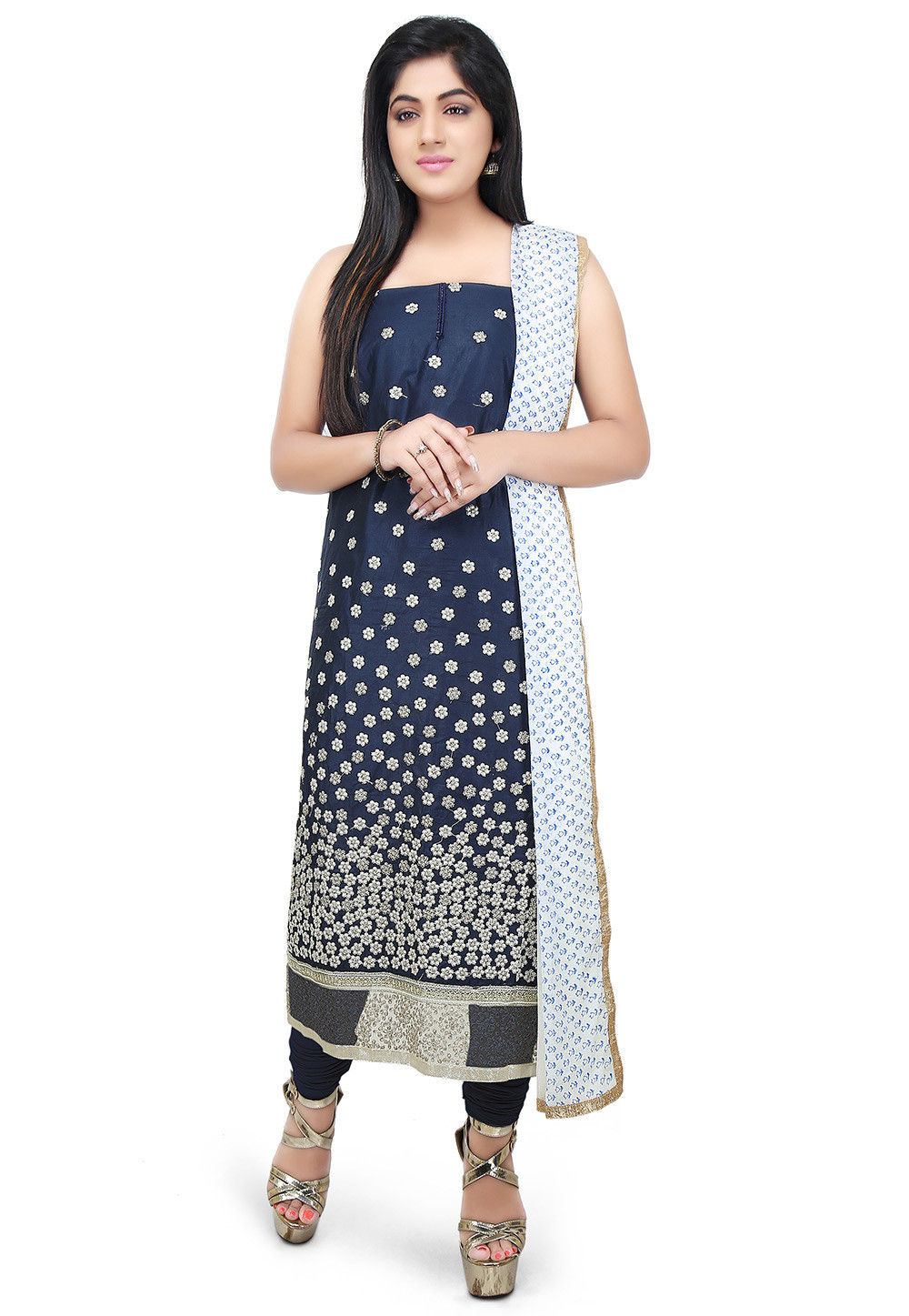 Embroidered Cotton Silk Straight Suit in Dark Blue