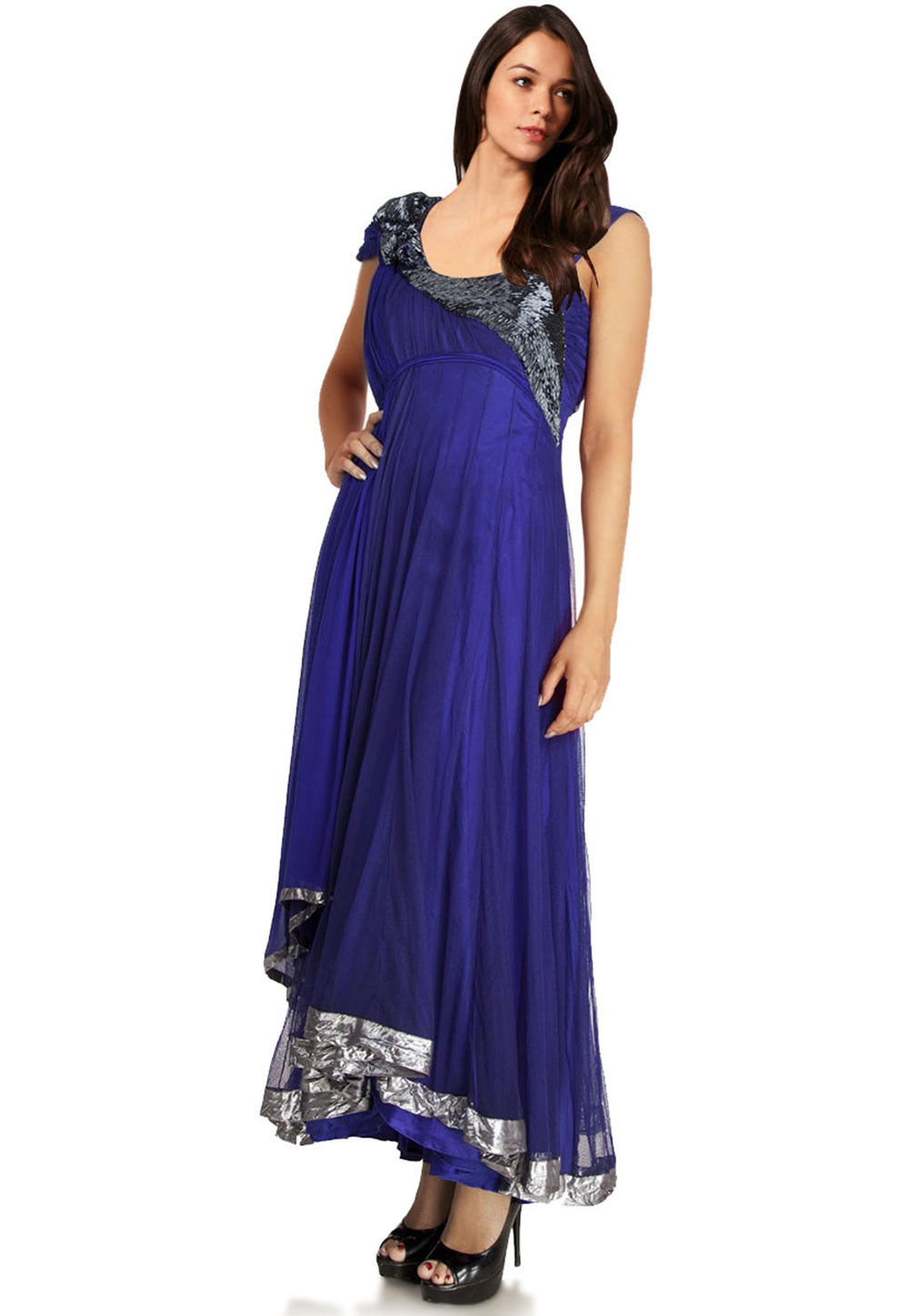 Hand Embroidered Net Asymmetric Abaya Style Suit in Royal Blue