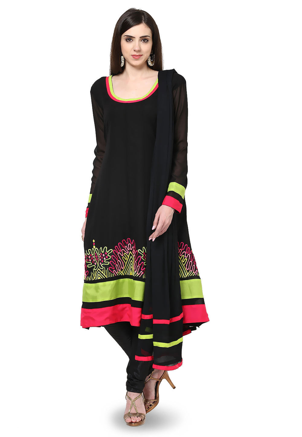 Embroidered Georgette Anarkali Suit in Black