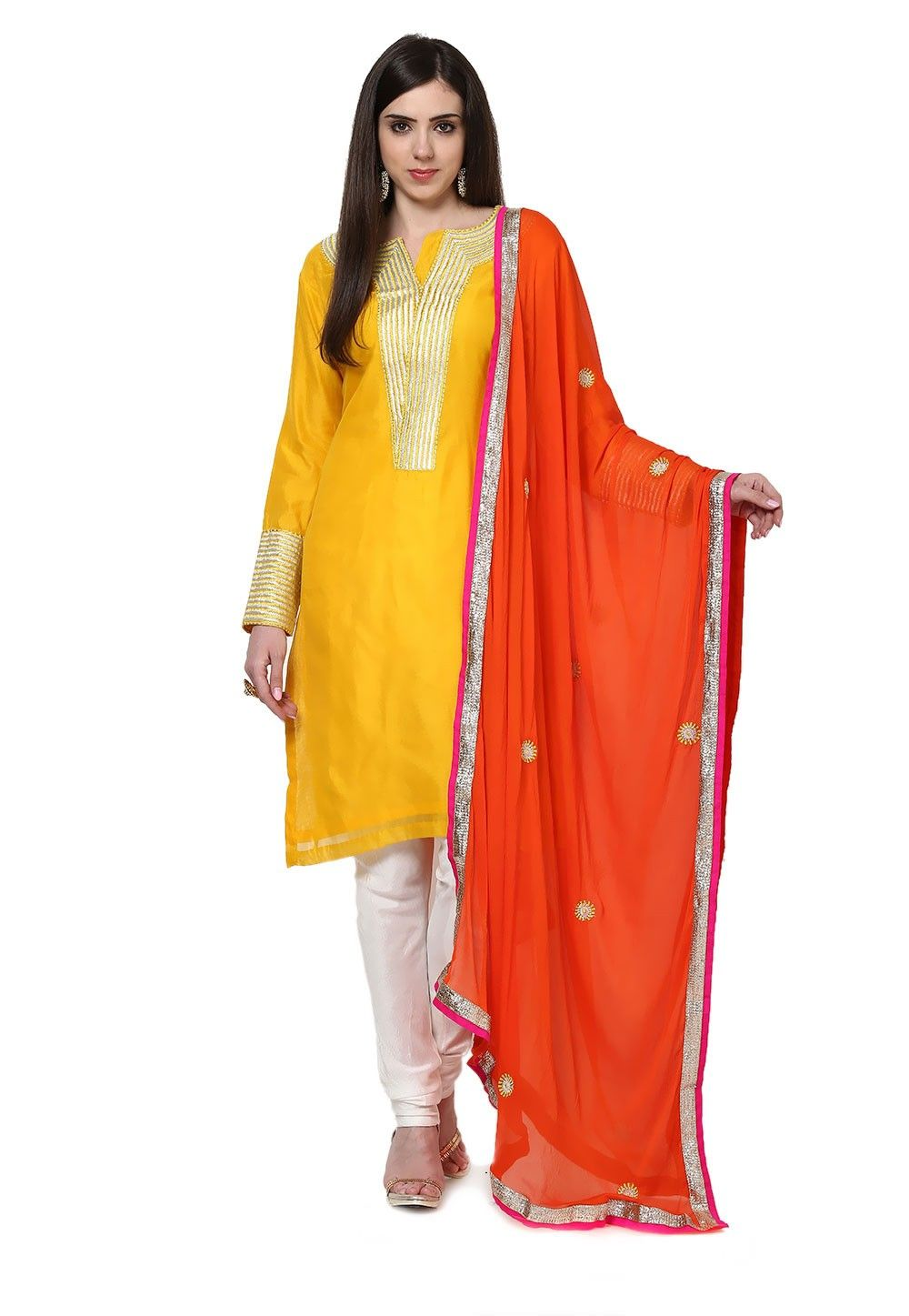 Embroidered Straight Cut Cotton Suit In Yellow