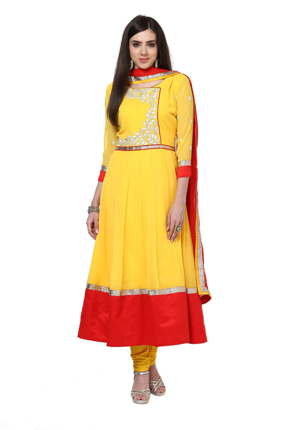 Embroidered Anarkali Georgette Suit In Yellow