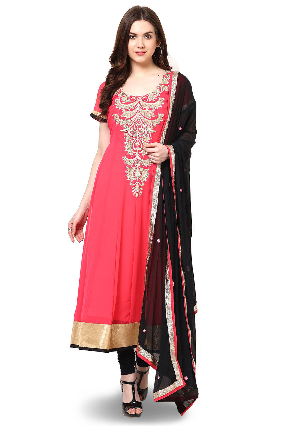 Embroidered Georgette Anarkali Suit in Coral Red