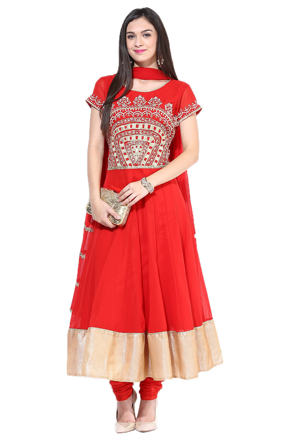 Embroidered Anarkali Georgette Suit In Red