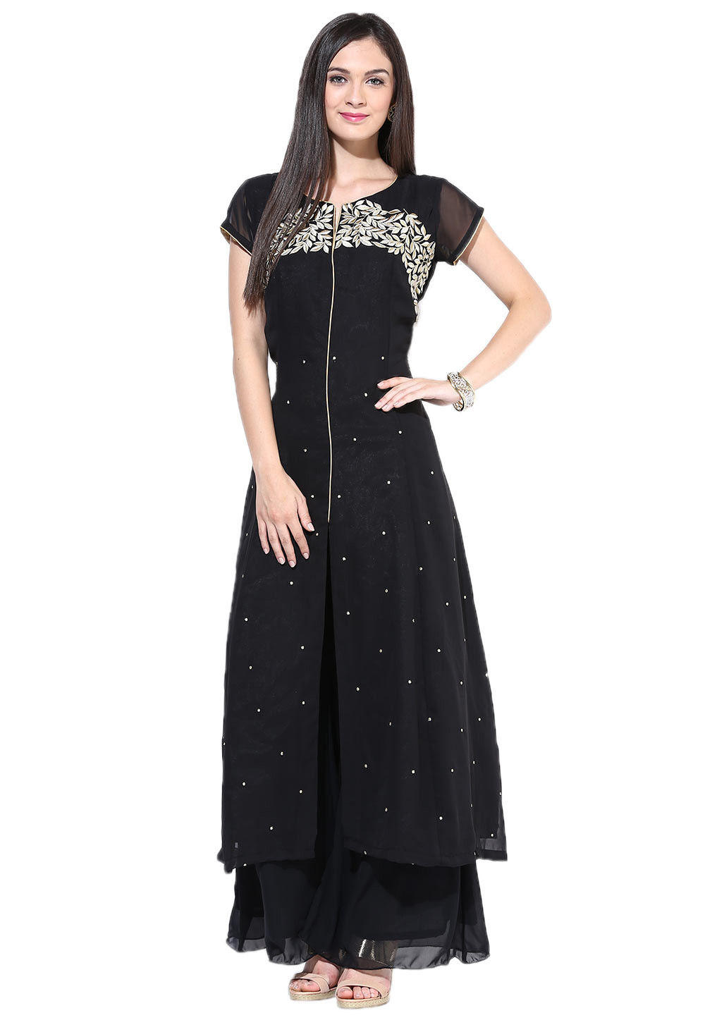 Embroidered Georgette Front Slit Pakistani Suit in Black