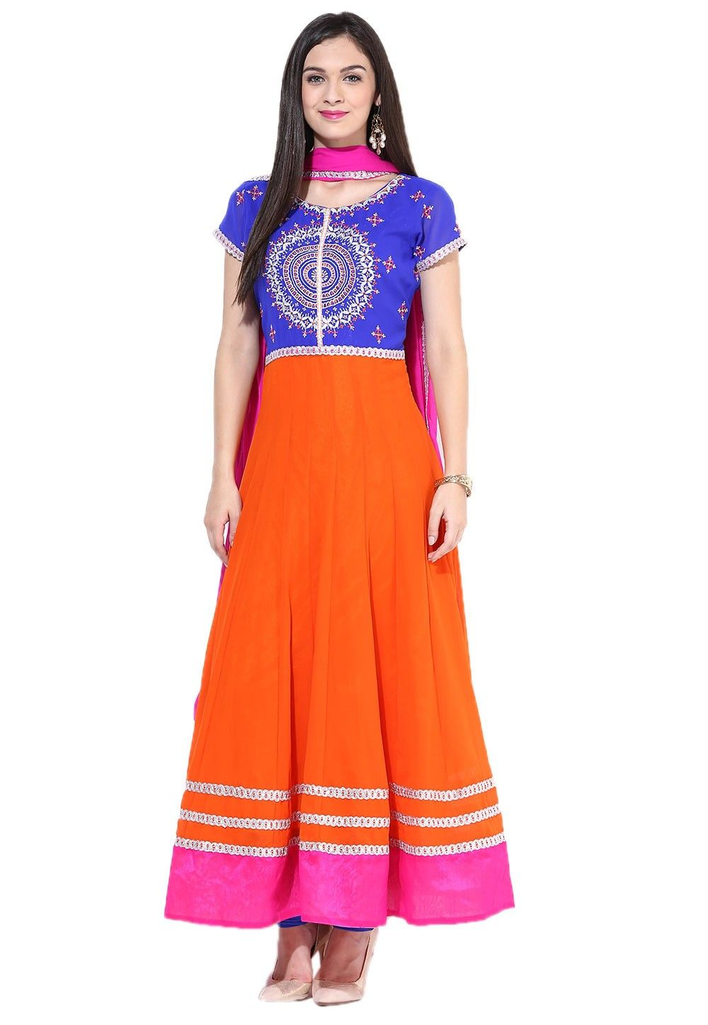 Embroidered Abaya Style Georgette Suit In Orange And Blue