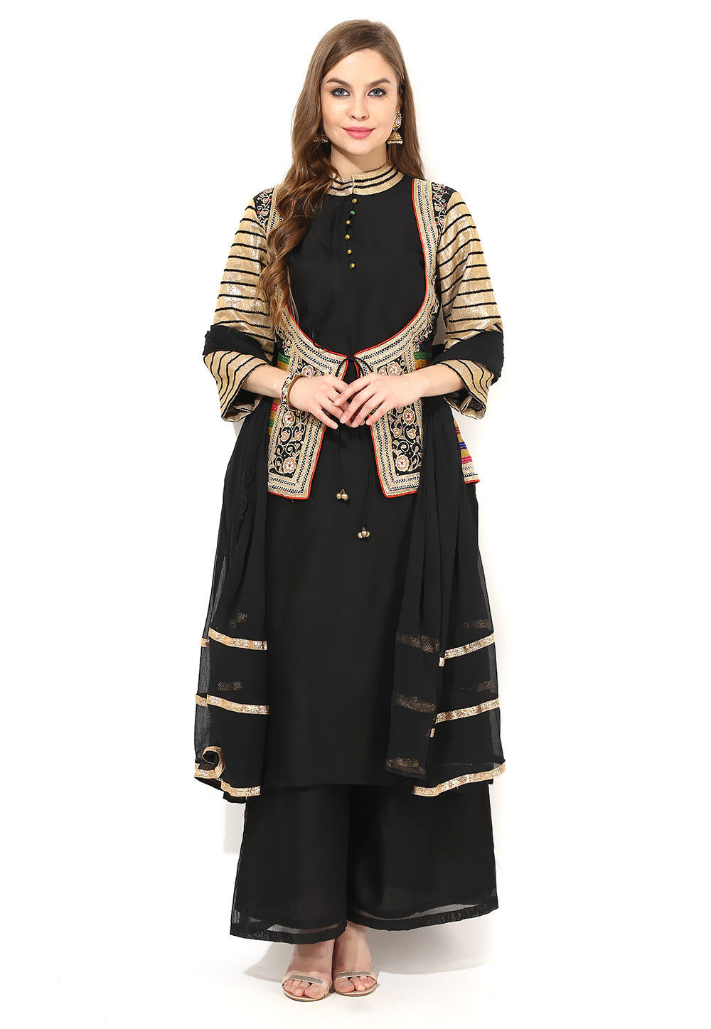 Embroidered Jacket Style Pakistani Suit in Black