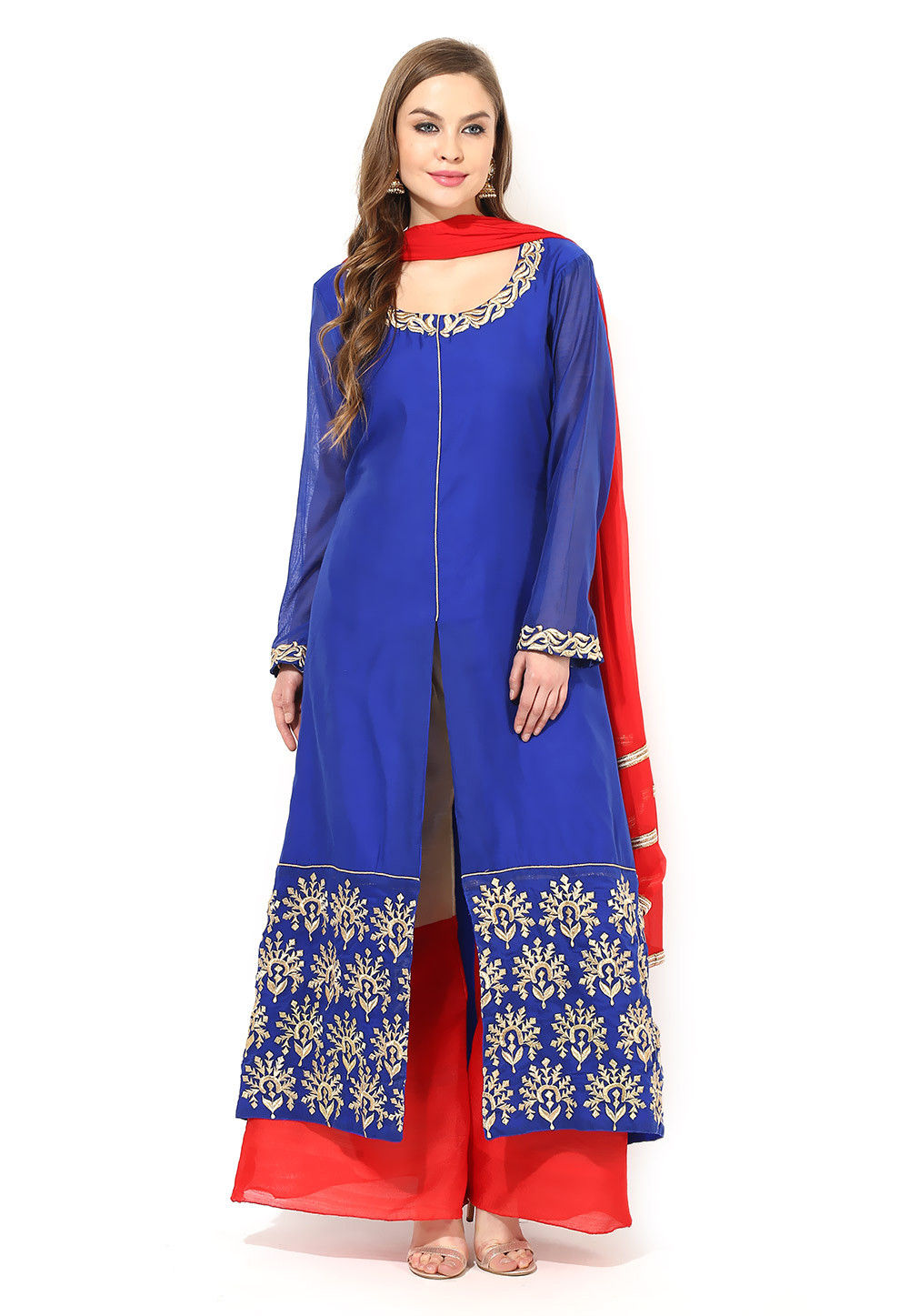 Embroidered Art Silk Front Slit Pakistani Suit in Blue