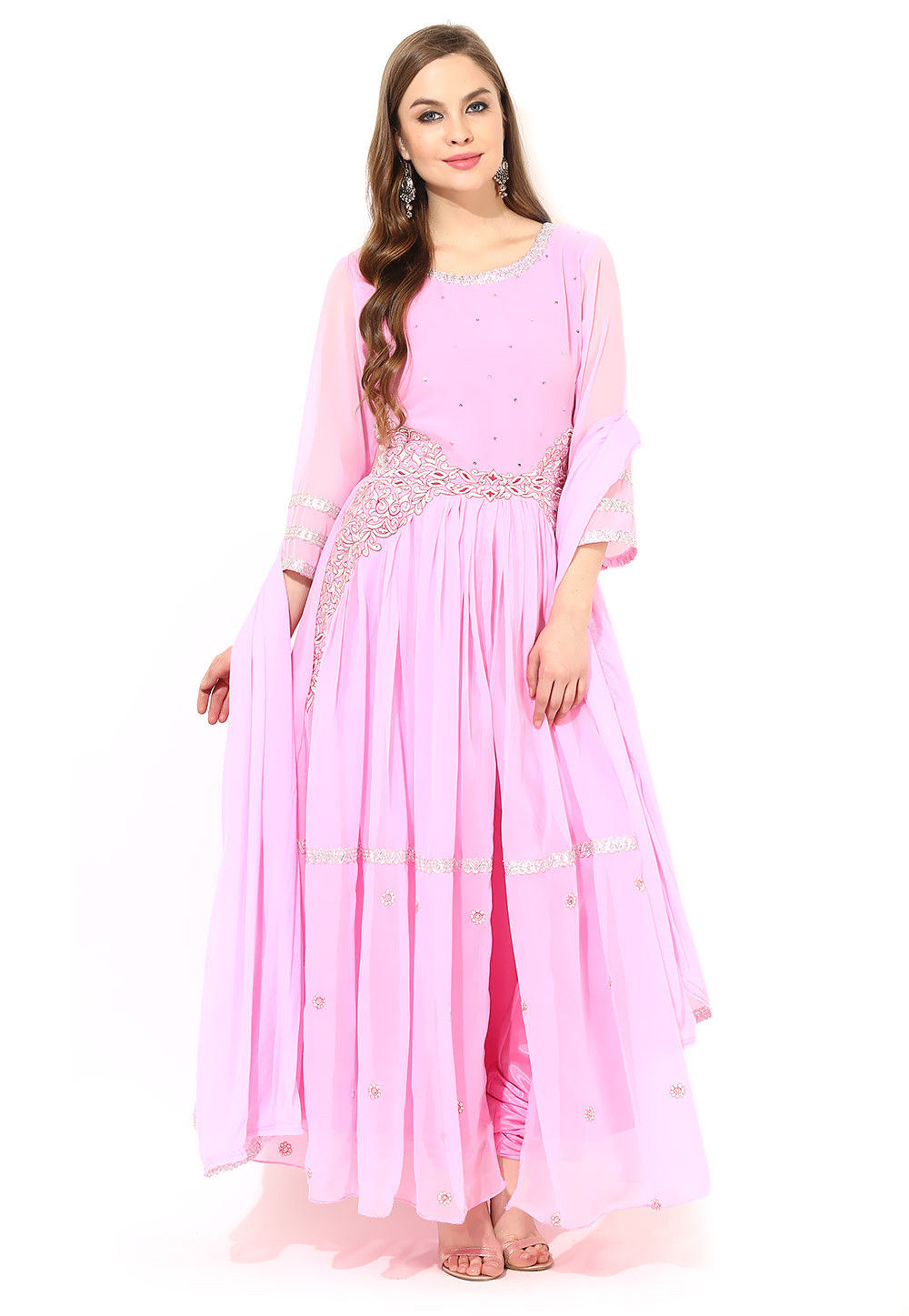 Abaya Style Embroidered Suit In Baby Pink