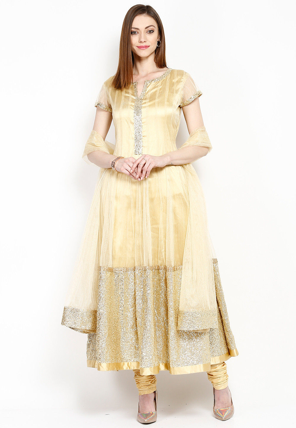 Embroidered Net Anarkali Suit in Golden