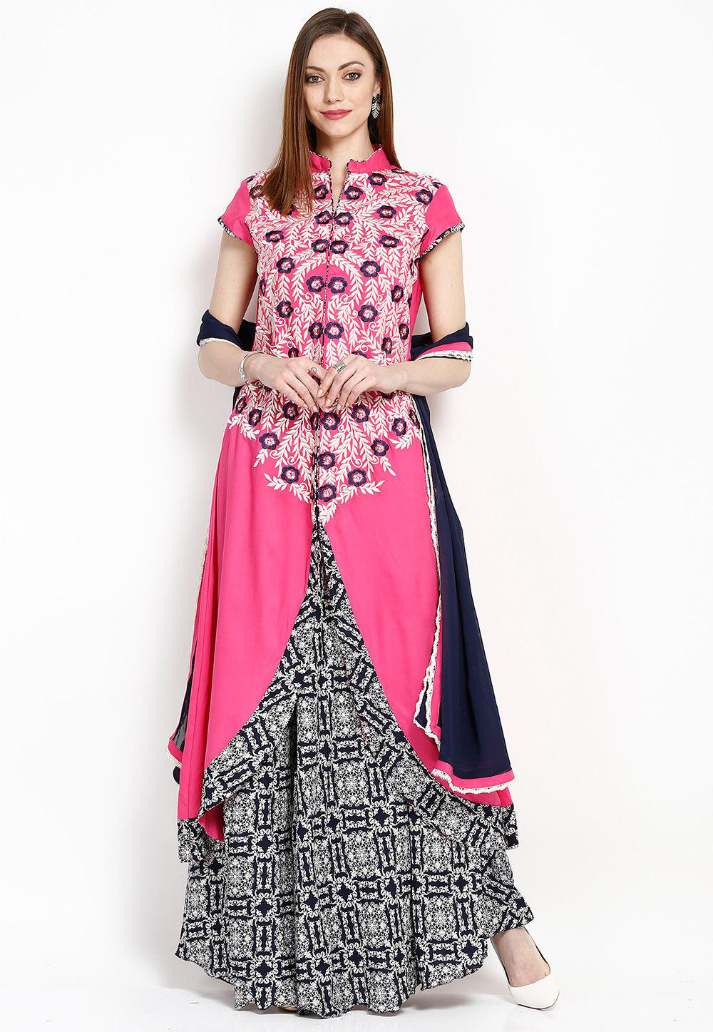 Embroidered Rayon Asymmetric Pakistani Suit in Pink