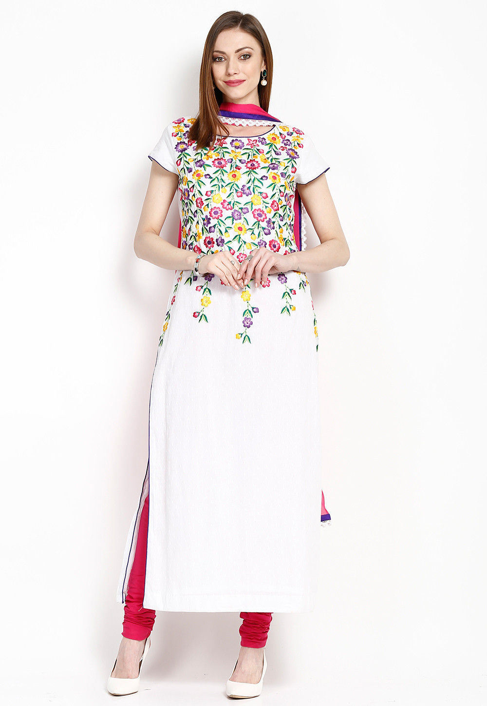 Embroidered Cotton Straight Cut Suit in White