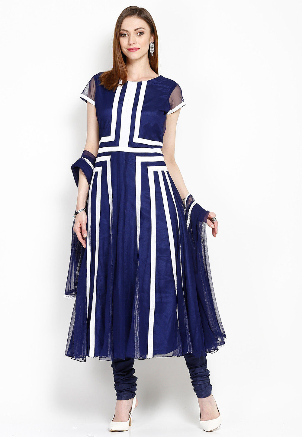 Contrast Patch Border Net Anarkali Suit in Navy Blue