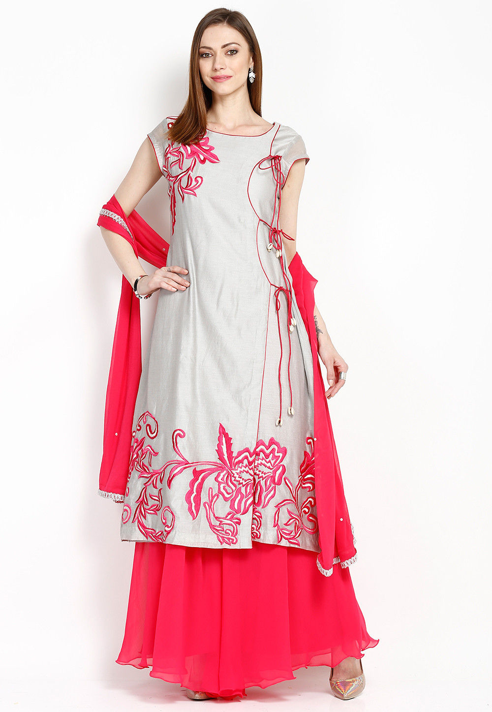 Embroidered Chanderi Angrakha style Suit in Grey