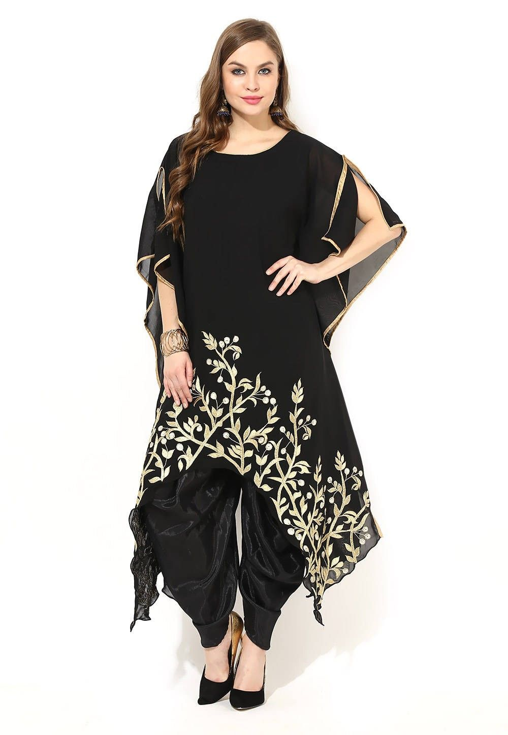 Embroidered Pakistani Asymmetric Georgette Suit in Black