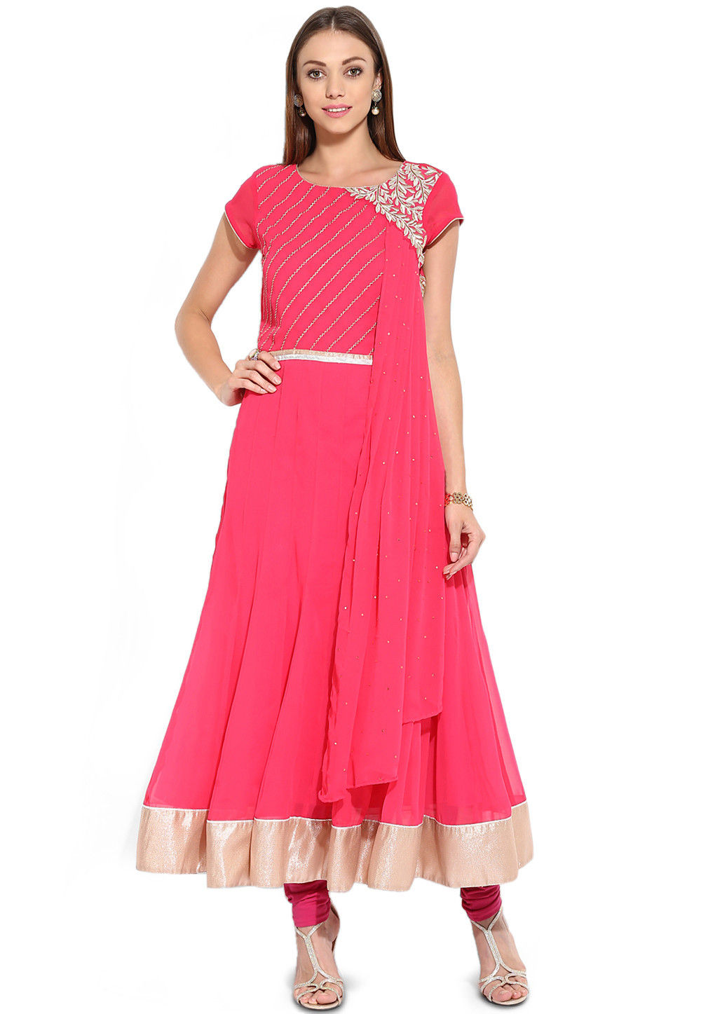 Embroidered Anarkali Georgette Suit in Fuchsia