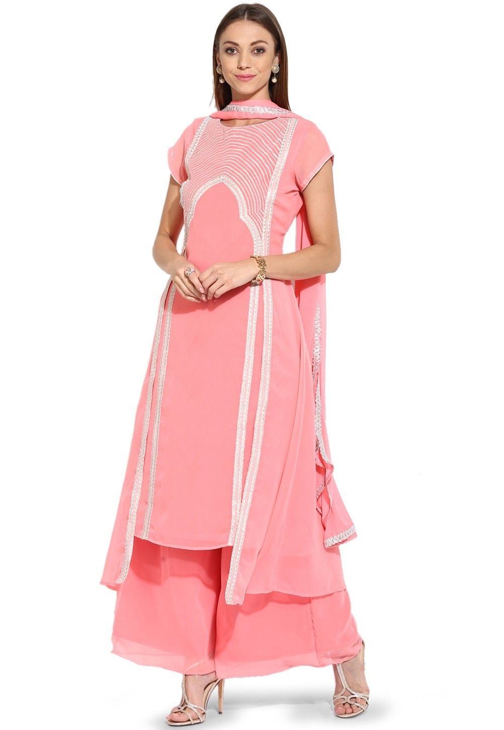 Embroidered Straight Cut Georgette Suit in Peach