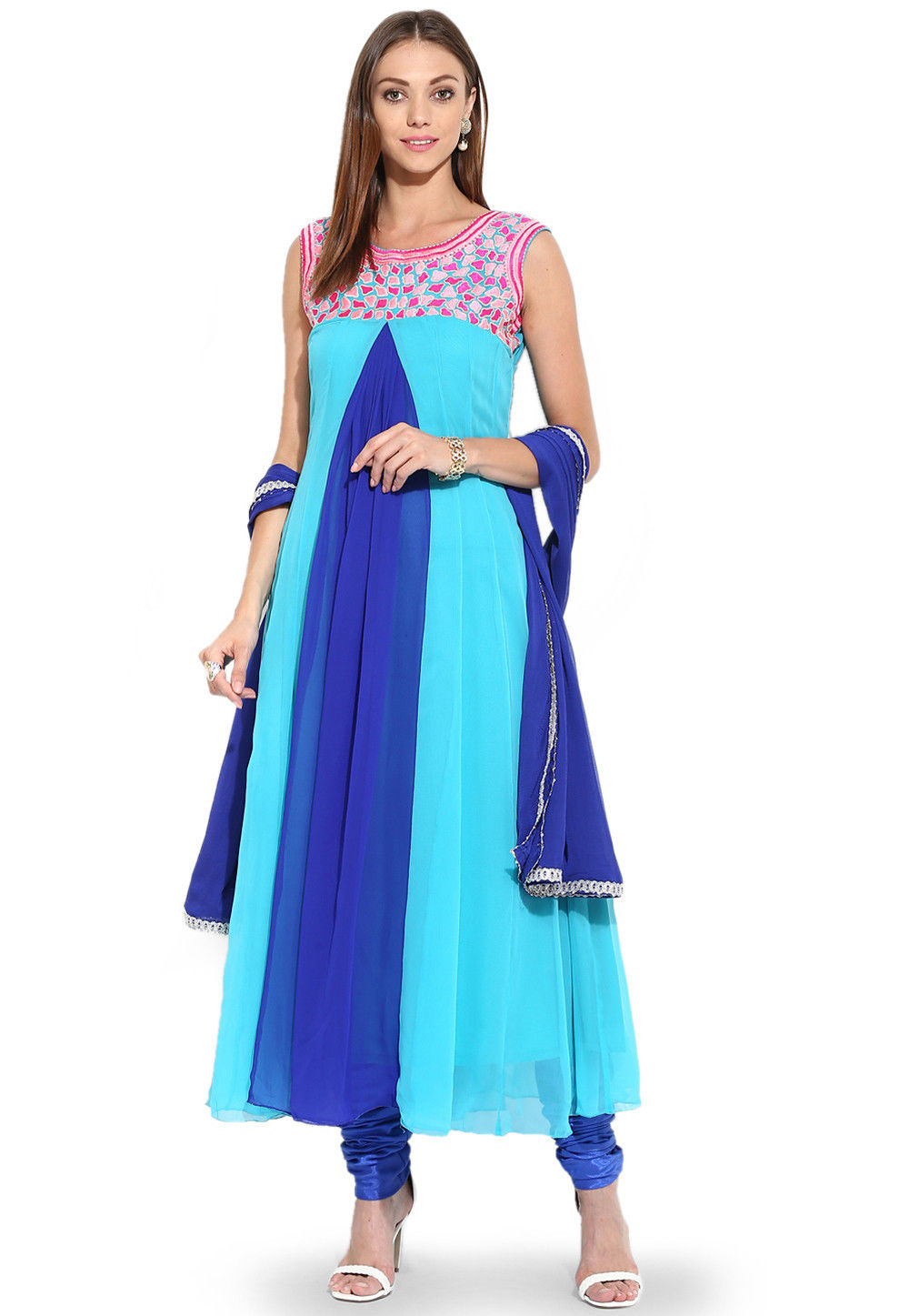 Embroidered Anarkali Georgette Suit in Blue