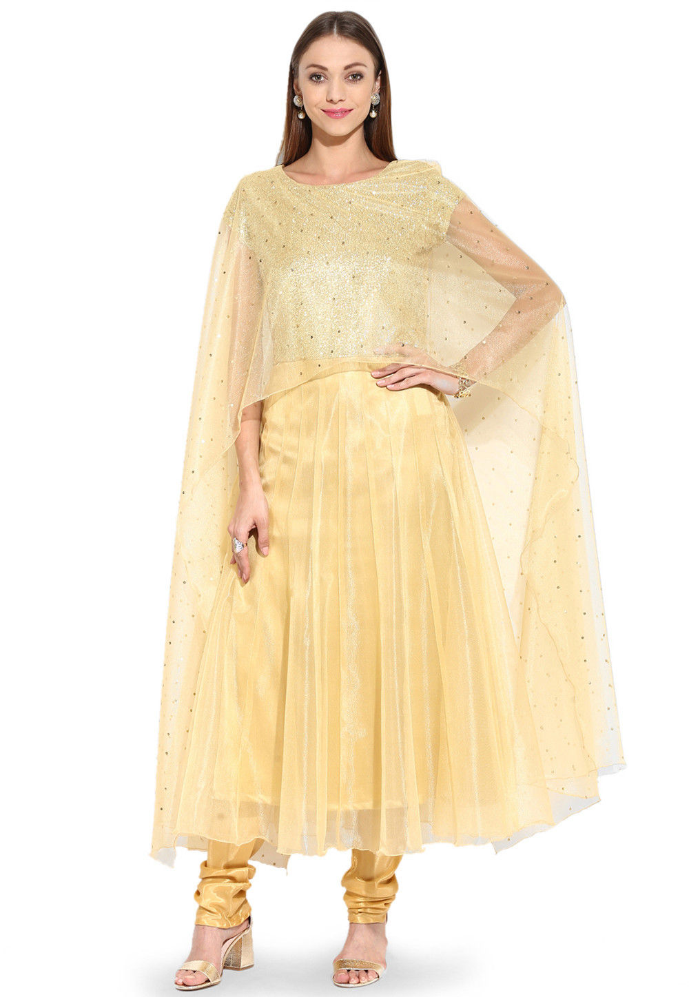 Embroidered Anarkali Net Suit in Golden