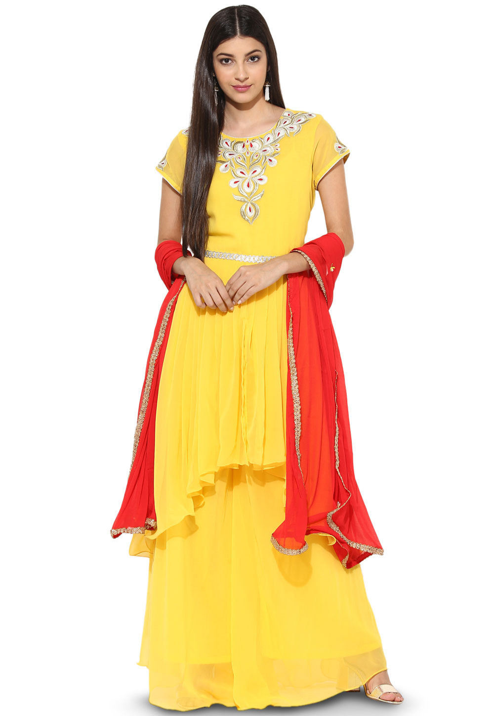 Embroidered Georgette Asymmetric Pakistani Suit in Yellow