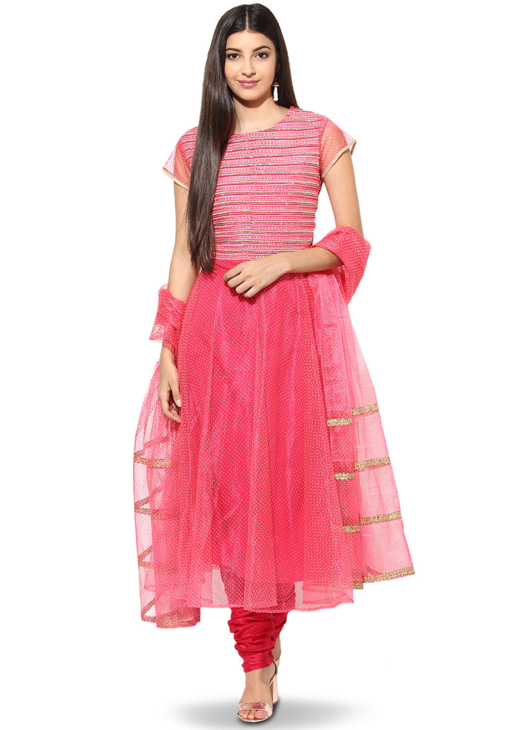 Embroidered Net Anarkali Suit in Pink
