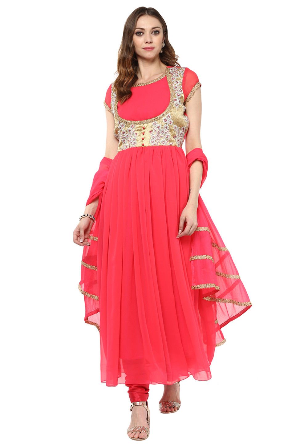 Plain Georgette Pleated Flared in Coral Red