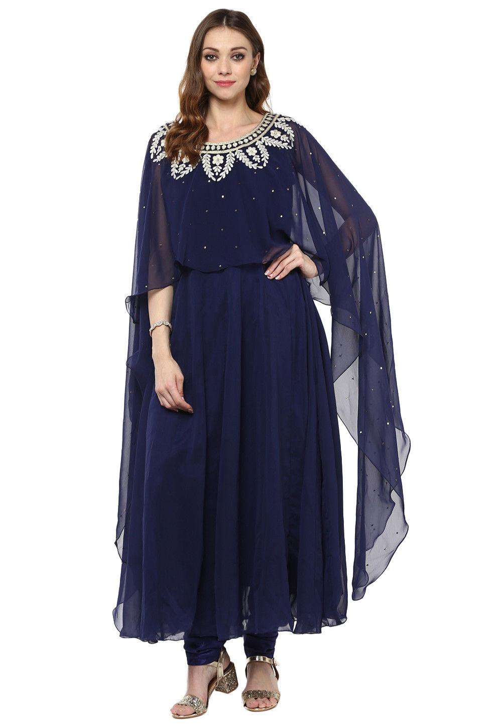 Embroidered Neckline Georgette Anarkali Suit in Navy Blue