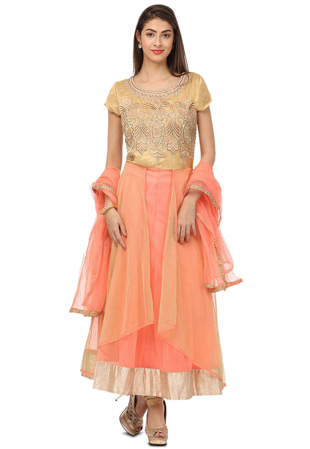 Embroidered Net Layered Anarkali Suit in Peach and Beige