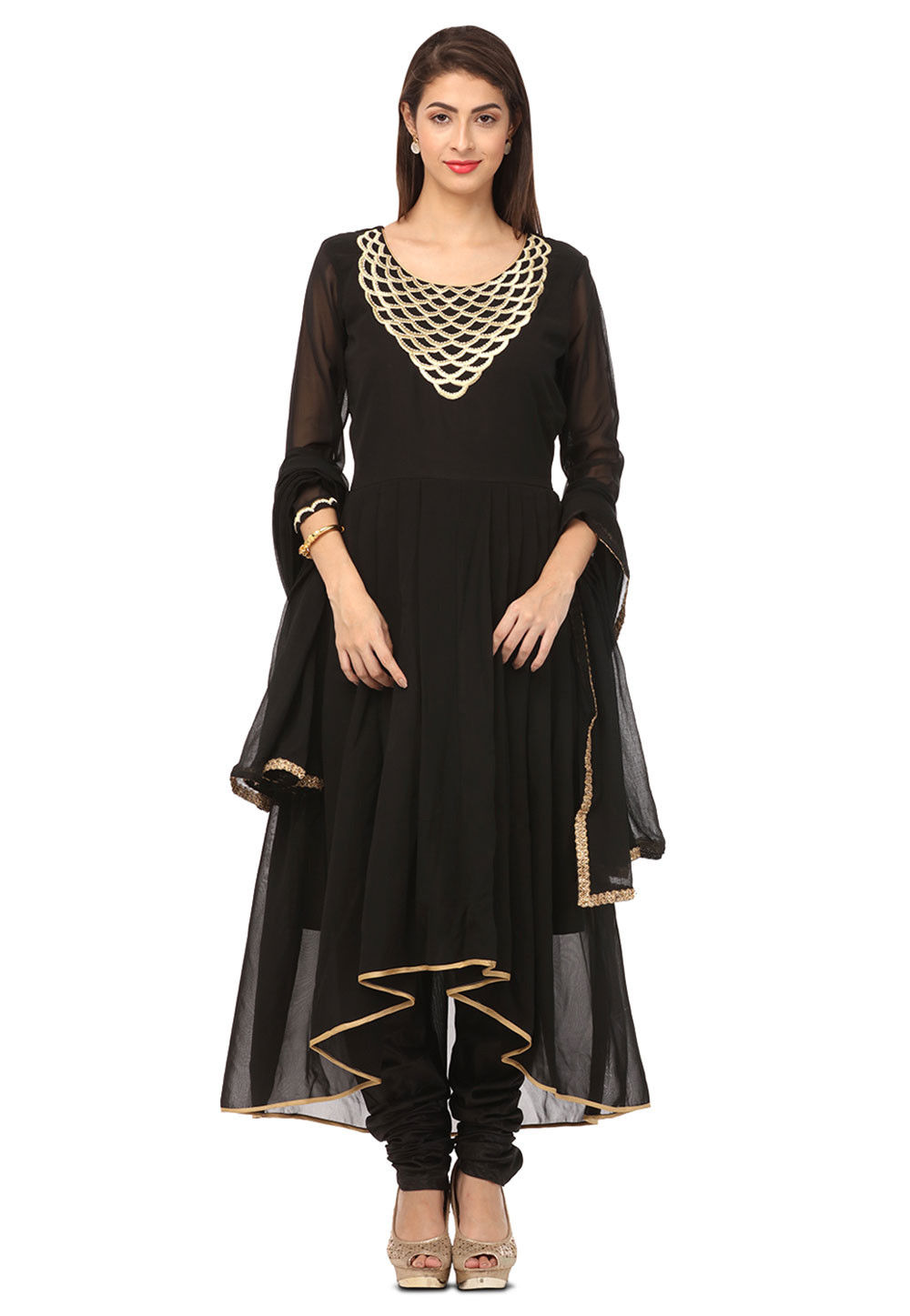 Embroidered Georgette Asymmetric Suit in Black