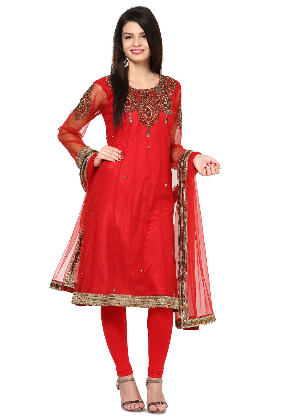 Embroidered Anarkali Net Suit In Red