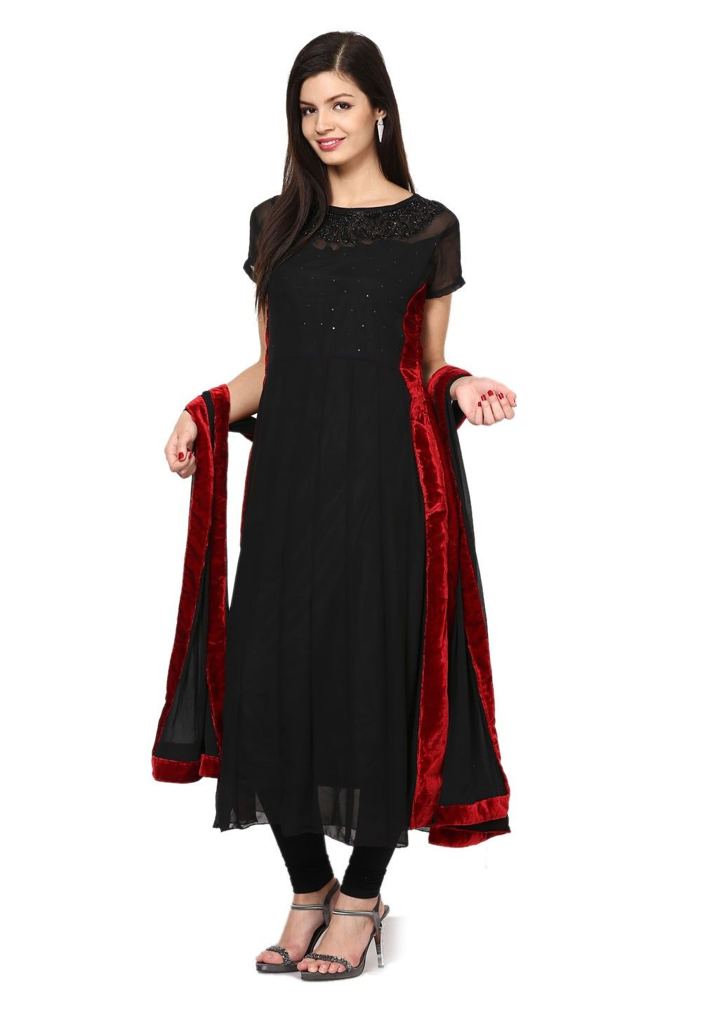 Embroidered Anarkali Georgette Suit In Black