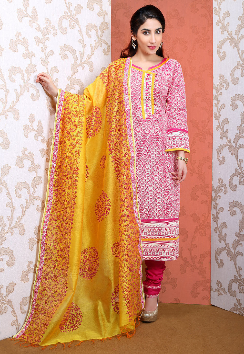Printed Cotton Straight Cut Suit in Off White and Fuchsia