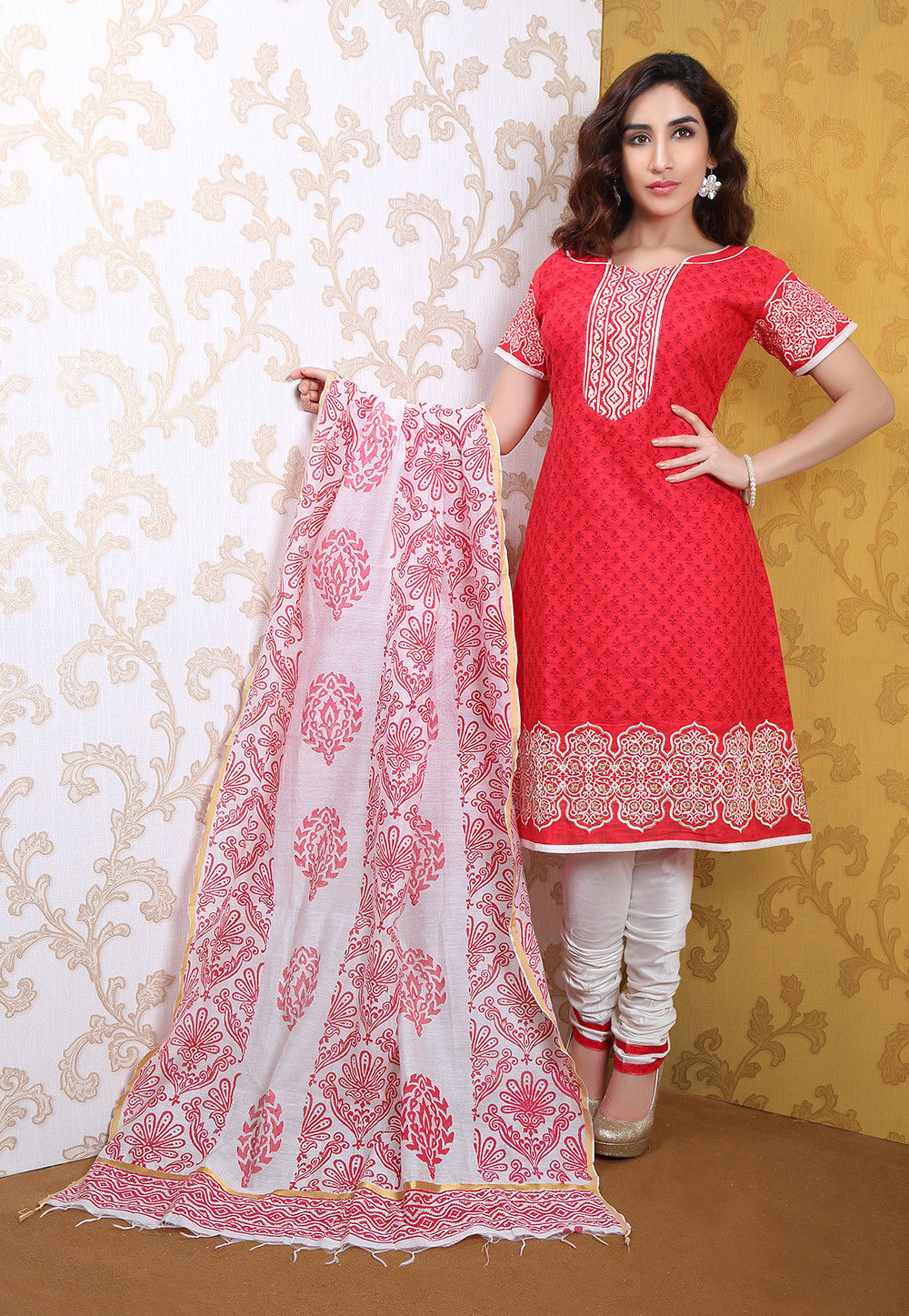 Embroidered Cotton Straight Cut Suit in Red